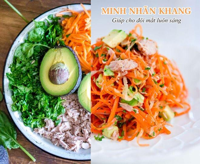 Salad cá ngừ cà rốt cũng nằm trong danh sách những món ăn bổ mắt tốt nhất